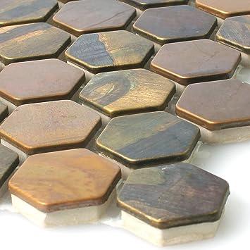 Mosaikfliesen Kupfer Merkur Sechseck Braun 24 | Wandfliesen |  Mosaik Fliesen | Hexagon Polygon |