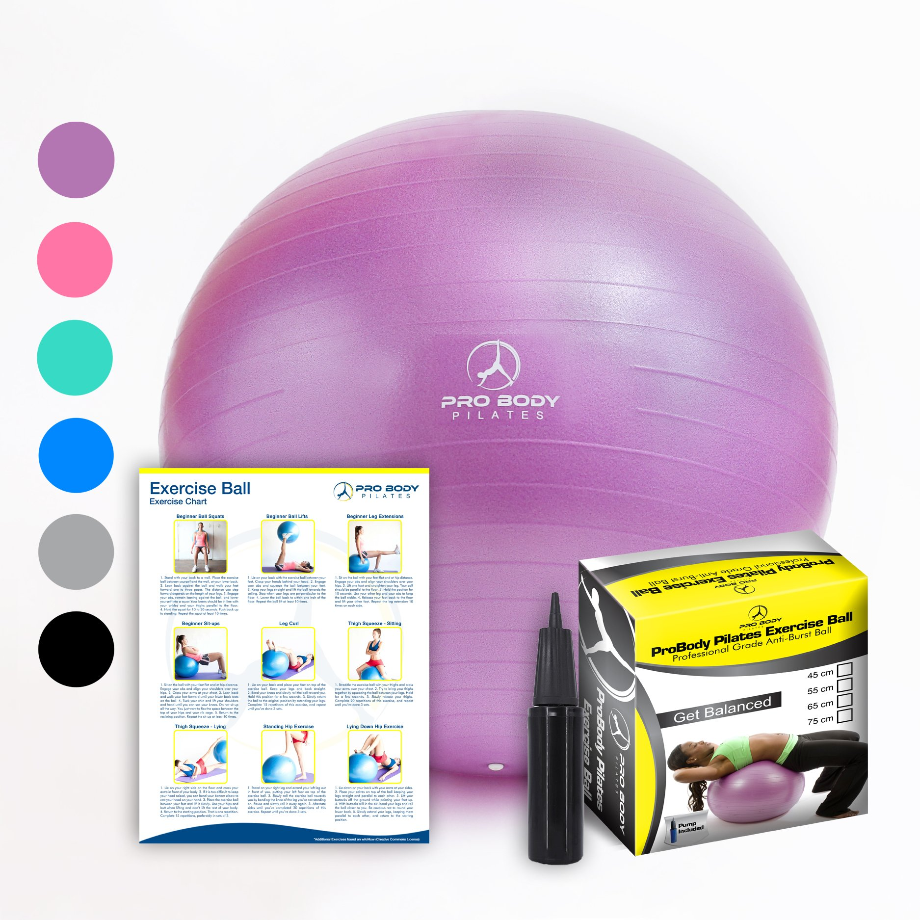 Exercise Ball - Professional Grade Anti-Burst Fitness, Balance Ball for Pilates, Yoga, Birthing, Stability Gym Workout Training and Physical Therapy (Purple, 55 cm) by ProBody Pilates