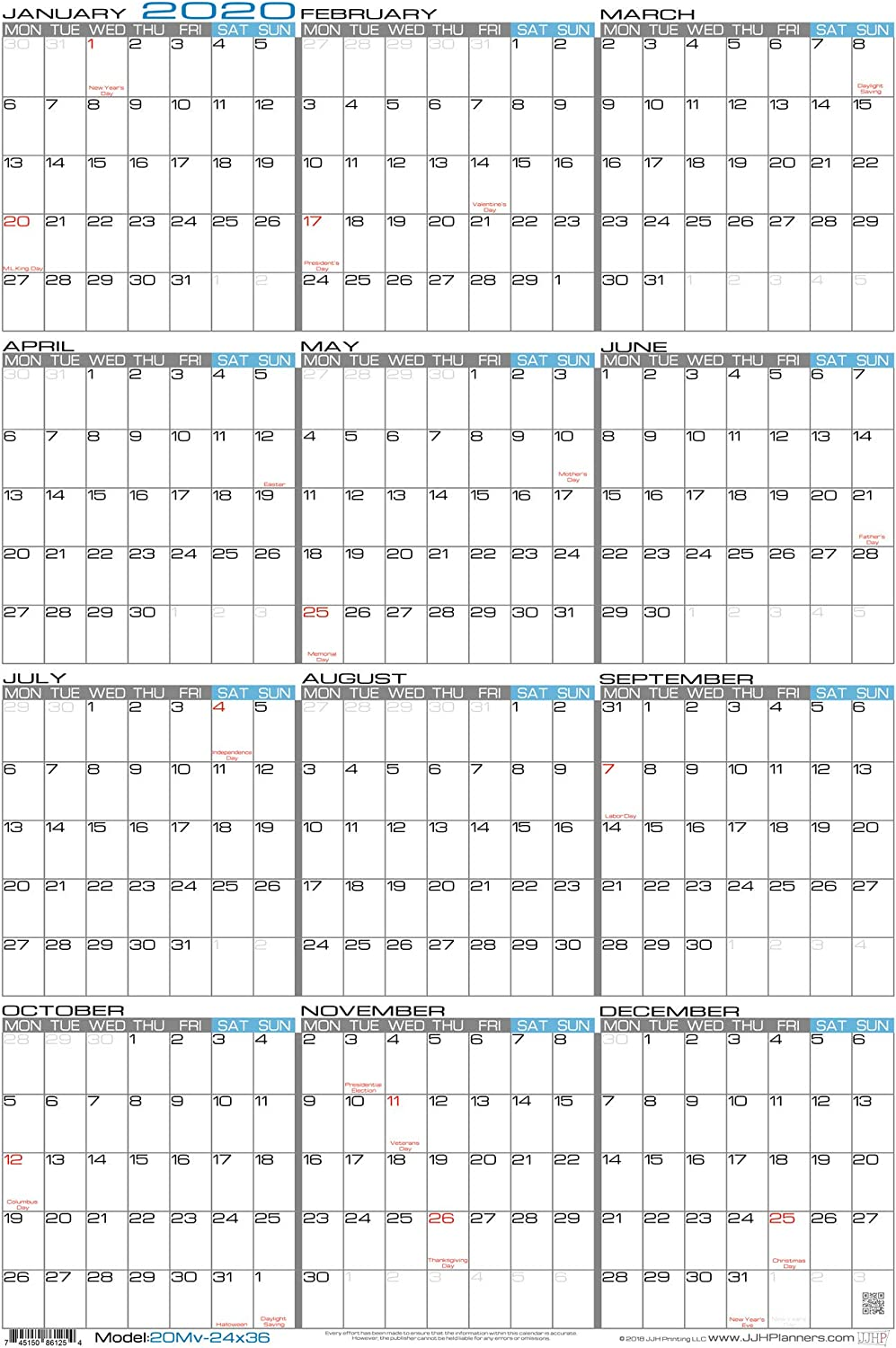 "JJH Planners - Laminated - 24"" x 36"" Large Monday Start Week 2020 Wall Calendar - Vertical 12 Month Yearly Annual Planner (20Mv-24x36)"