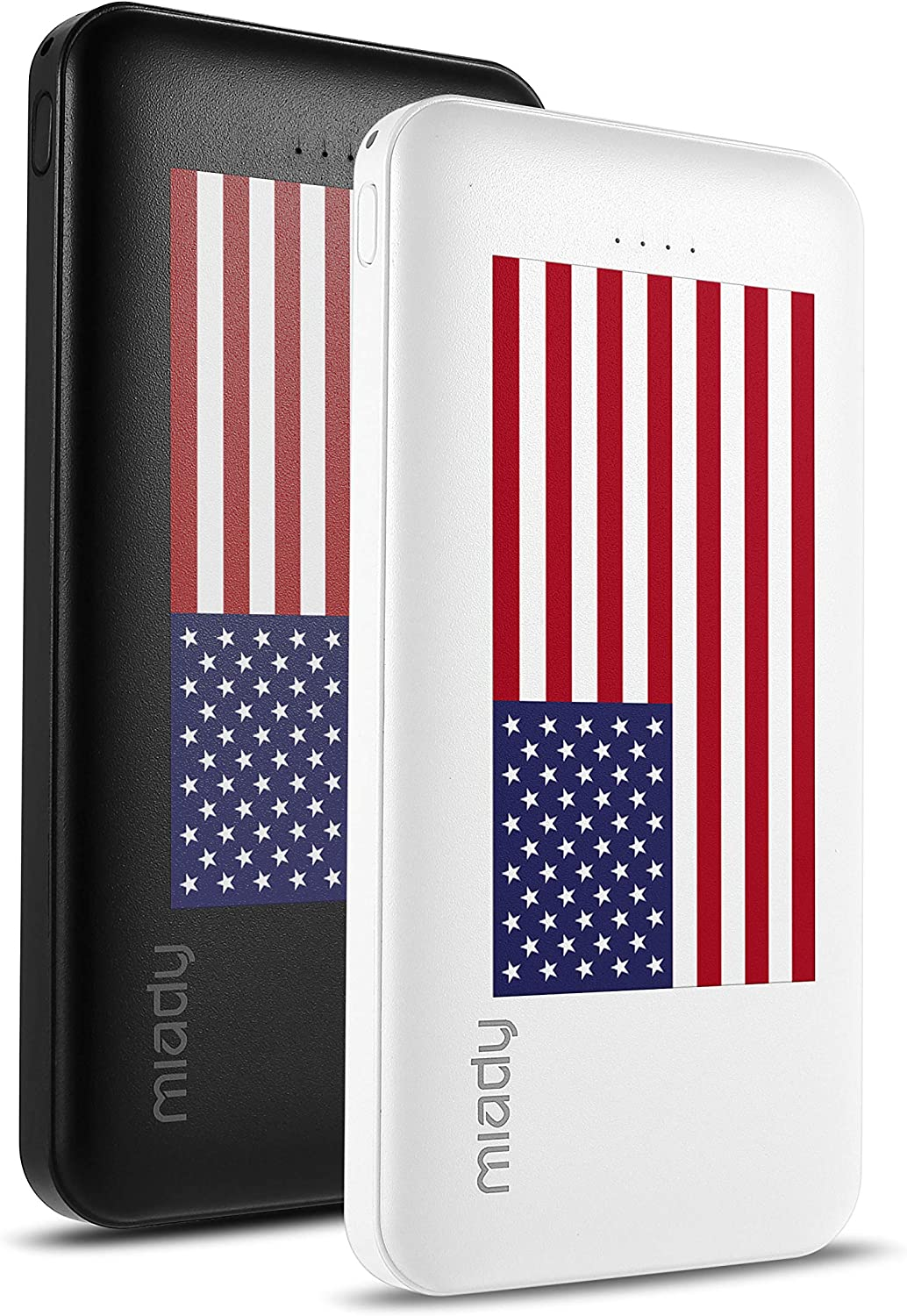 2-Pack Miady 10000mAh Dual USB Portable Charger, Fast Charging Power Bank with USB C Input, Backup Charger for iPhone X, Galaxy S9, Pixel 3 and etc (Flag Edition) …