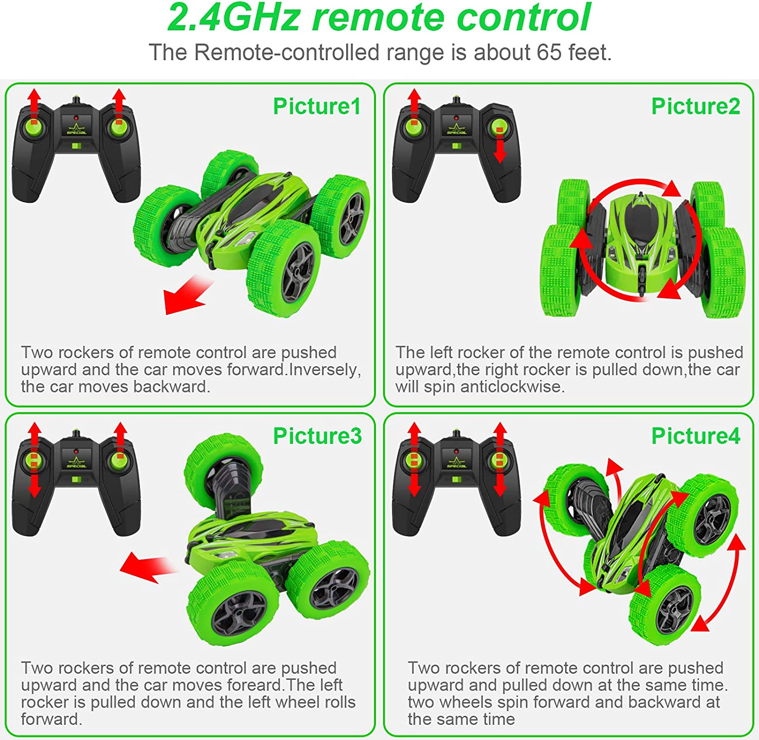 High Speed 2.4Ghz Remote Control Race Car Double Sided 360 Degree Rotating Tumbling Rechargeable Car Xmas Birthday Toy Cars Gift for Boys//Girls,Kids Green Remote Control Car,RC Stunt Car Toy