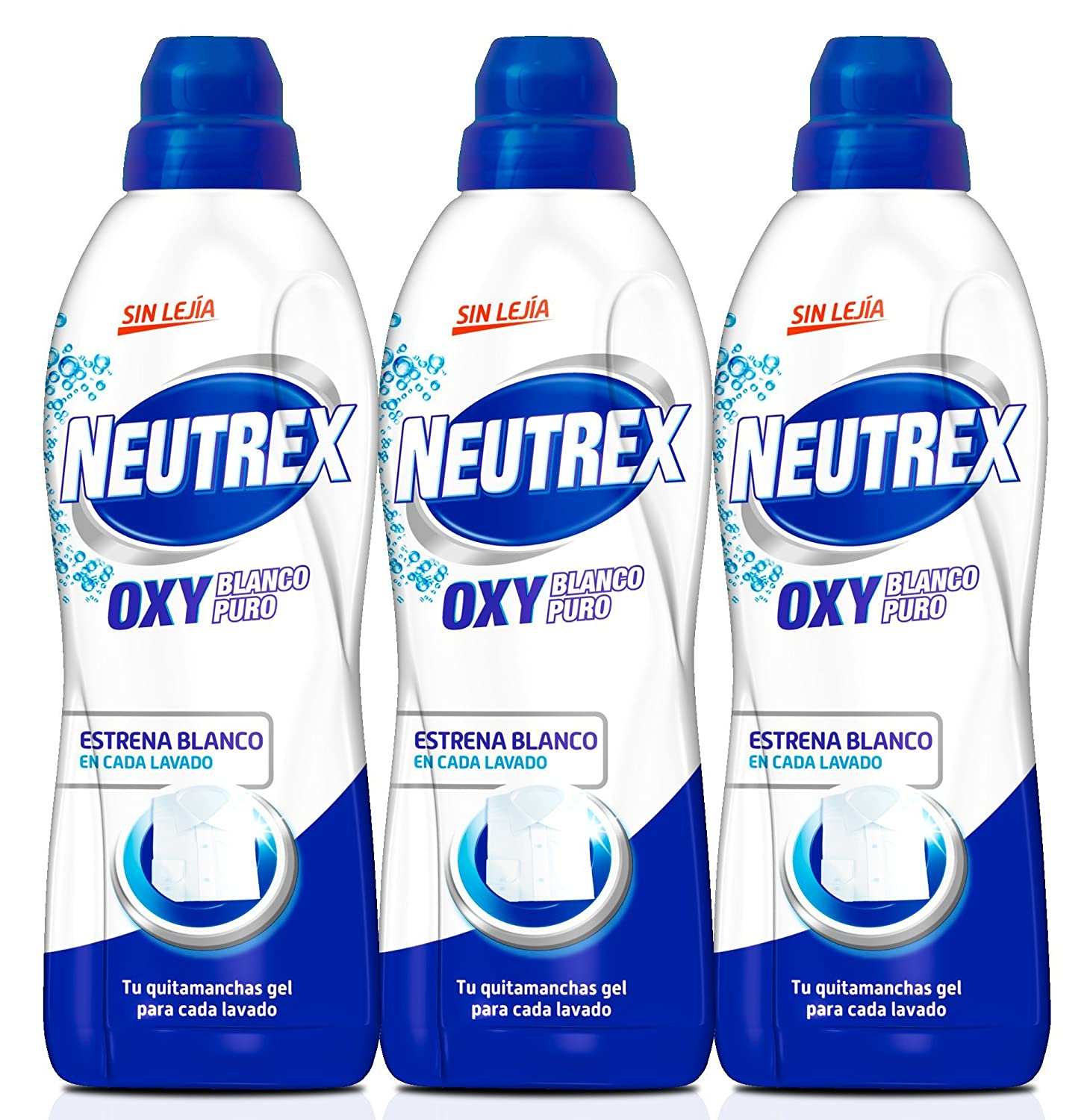Pack de 3] Neutrex Quitamanchas Gel Oxy Blanco Puro Botella 800 ml ...