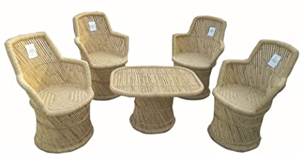 Ecowoodies Bamboo Sitting Chair and Table Furniture Set of 4 for Garden, Lawn, Balcony and Terrace (4 Chairs + 1 Table)