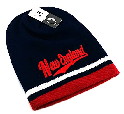 09608fb987d Image Unavailable. Image not available for. Color  New England Top Pro New  Beanie Toque Skull Patriots Colors Blue Red Era Hat ...