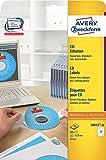 Avery Zweckform L6015-25 Étiquettes CD Taille standard ø 117 mm Étiquette opaque pour archivage etc. Languettes de positionnement 25 feuilles (Import Allemagne)
