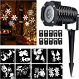 Halloween Projector lights, Magicfly Rotating Projection Led Lights Snowflake Spotlight, 10PCS Pattern Lens Xmas Led Projector Light Show Multicolor landscape lights Waterproof for Wall Party, White