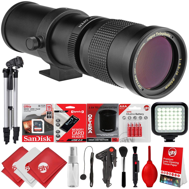 Opteka 420 – 800 mm / 840 – 1600 mmスーパー望遠ズームレンズW / 32gb – 15pcバンドルfor Canon EOS 80d、77d、70d、60d、7d、6d、5d、7d Mark II、t7i、t6s、t6i、t6、t5i、t5、sl1 & sl2デジタルSLRカメラ B07CX8HN2R