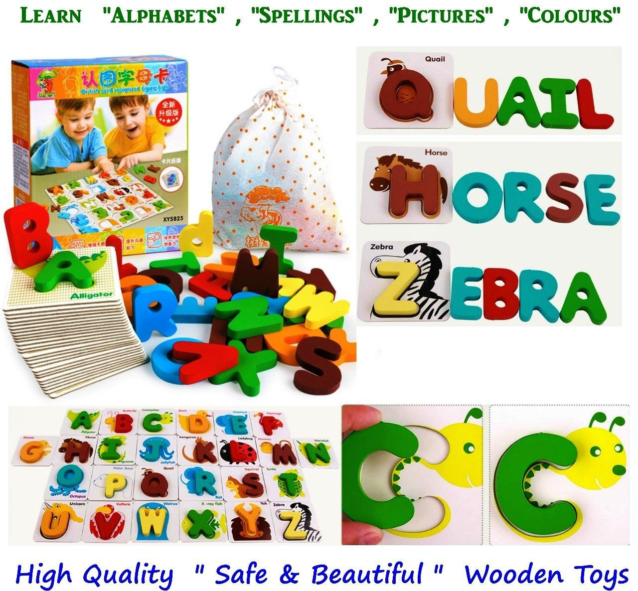 Happy GiftMart Kids and Infants Wooden 4 in 1 Toy Learn ABC Alphabet Animals Colours, Spelling Toddlers, 22x18x4cm (Multicolour) - Pack of 26 product image