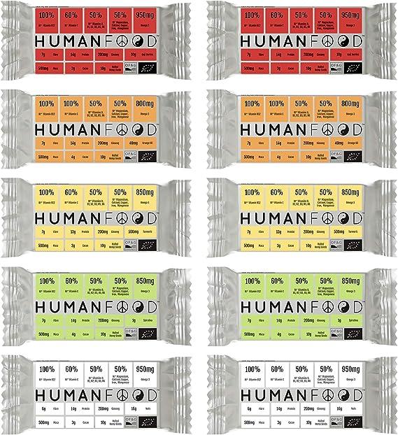 Barras de alimentos humanos. 100% RI Vitamina B12 y más. Barras de nutrición diaria orgánicas. (20)