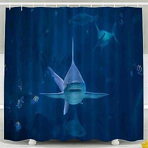 Tooperue Shower Curtain for Bathroom with Hooks Shark Swimming Camera in Aquarium Silvertip Toward Sentosa Singapore 78×72 Inch,Eco-Friendly,No Oder,Waterproof,Red Orange