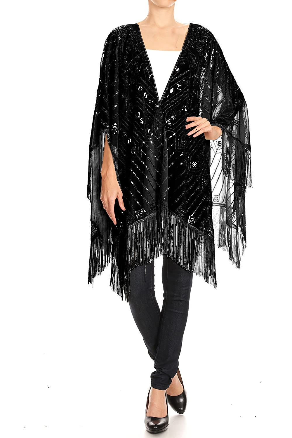 1900-1910s Clothing Anna-Kaci Womens Oversized Hand Beaded and Sequin Evening Shawl Wrap with Fringe $26.90 AT vintagedancer.com