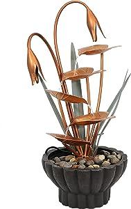 Sunnydaze Flower Petals Outdoor Water Fountain - Copper Waterfall Fountain & Backyard Water Feature for Patio, Yard, & Garden - 34 Inch Tall