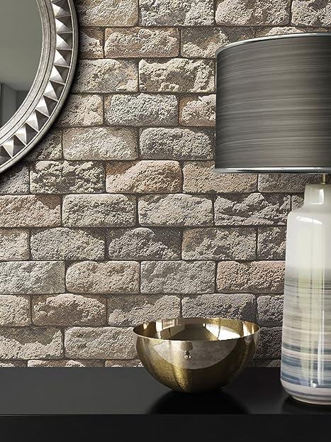Steintapete In Beige Grau | Schöne Edle Tapete Im Steinmauer