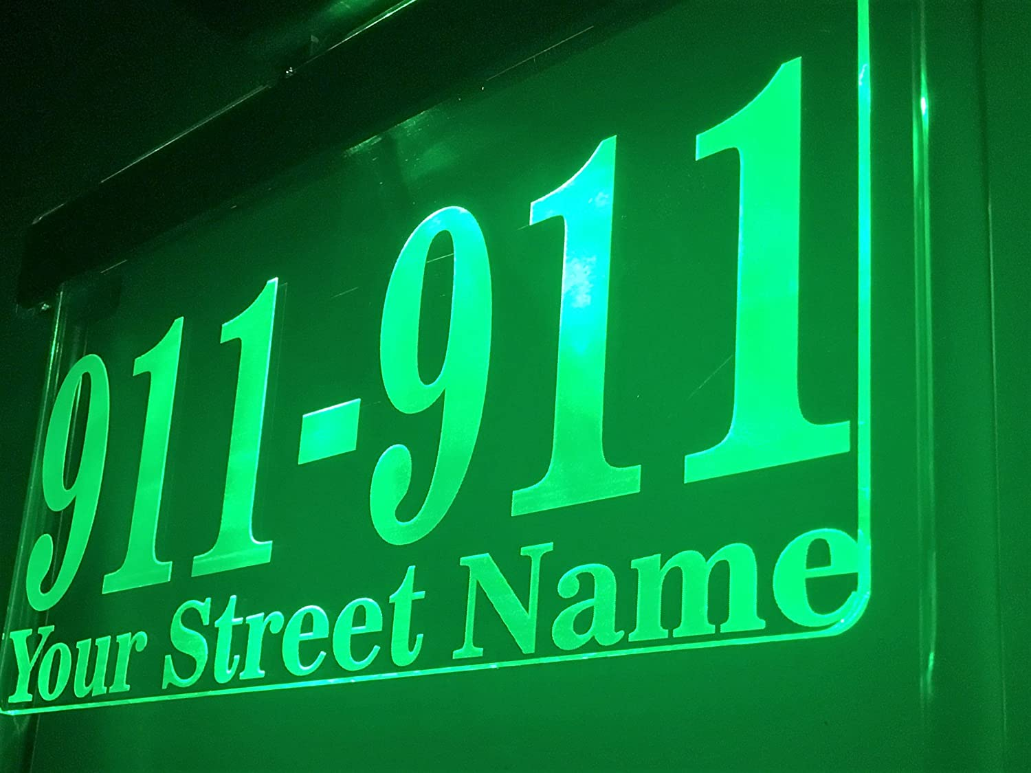DJ Large 17.5 inch Wide - Solar Lighted Address Sign - Bright Solar Powered Sign, Helps Emergency Vehicles and Guests Find Your Home. Green LED. Djan-Designs