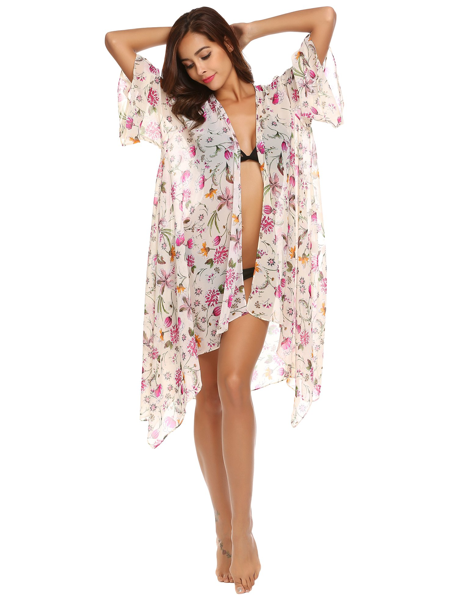 Showyoo Women's Boho Floral Print Open Front Kimono Cardigan Beachwear Cover up White XXL