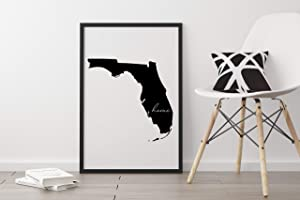 PotteLove Florida Home Sign, Florida Outline Print, State Sign, Home, Wall Art, Modern Home Decor, Housewarming Gift, Digital Download, Print & Frame, Wall Art Decor 12 x 12 Inch