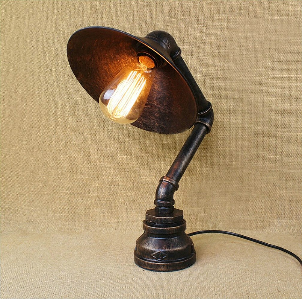 SUSUO Lighting Industrial Craftsmanship Edison Iron Retro Lighting Black Water Pipe Bed Side Desk Accent Lamp by SuSuo
