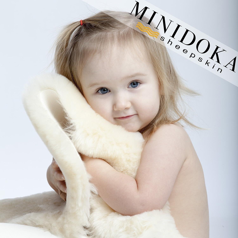 XL Australian Lambskin Baby Rug, 100% Natural, 37+ inches long, Premium Quality, Plush Silky Soft Wool, by Minidoka Sheepskin Desert Breeze Distributing