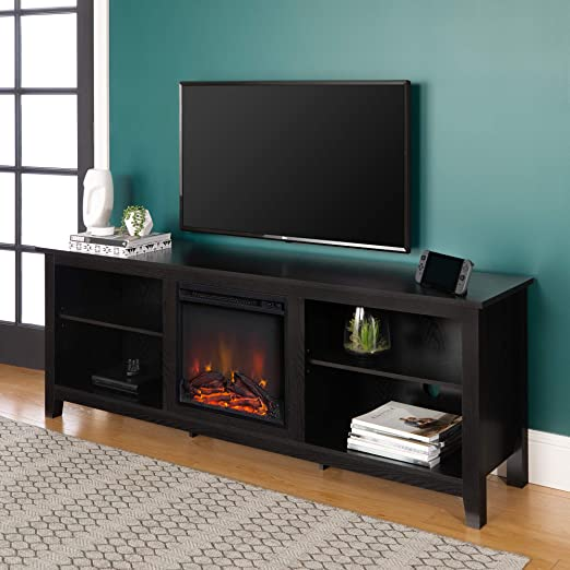 Amazon Com Walker Edison Minimal Farmhouse Wood Fireplace Universal Stand For Tv S Up To 80 Flat Screen Living Room Storage Shelves Entertainment Center 70 Inch Black Furniture Decor