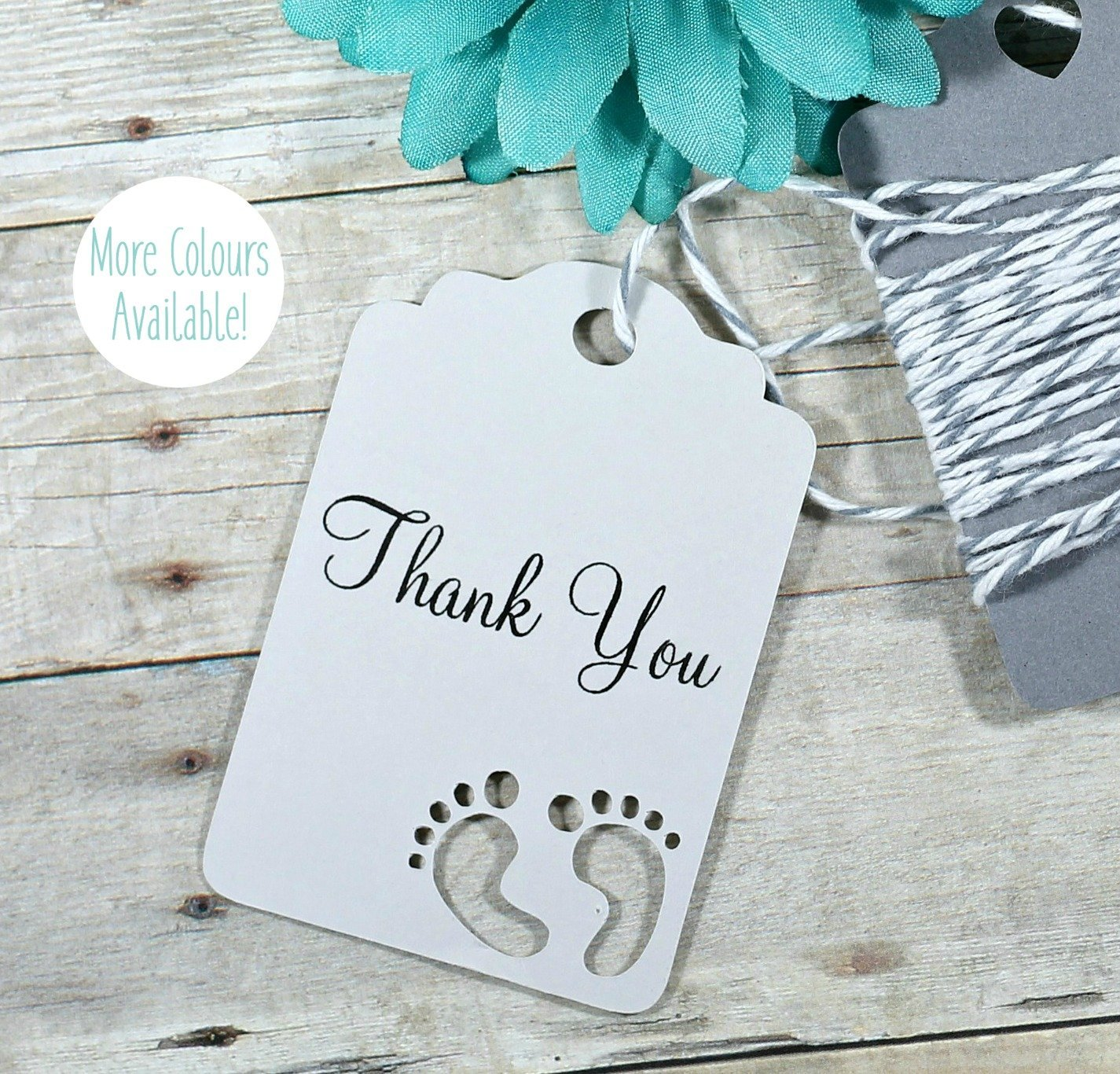 Amazon.com: Grey Baby Shower Thank You Tags - Baby Feet Favor Tags ...