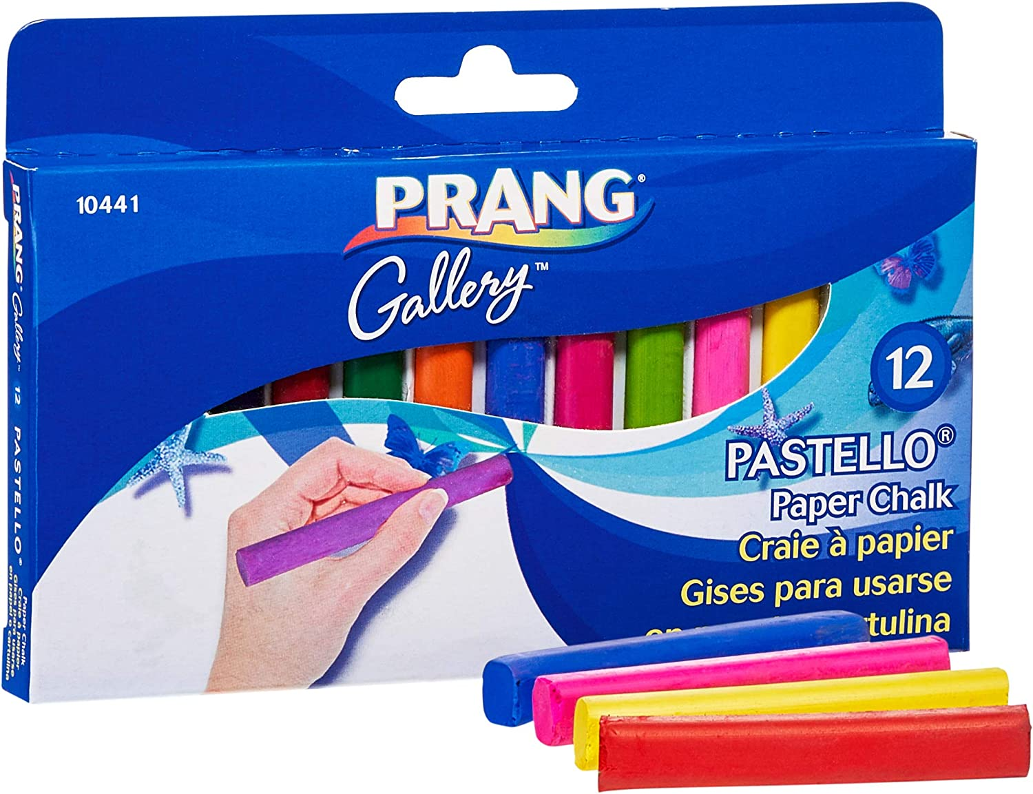 Prang Pastello Colored Art Chalk for Paper, 12 Assorted Colors per Box (10441)