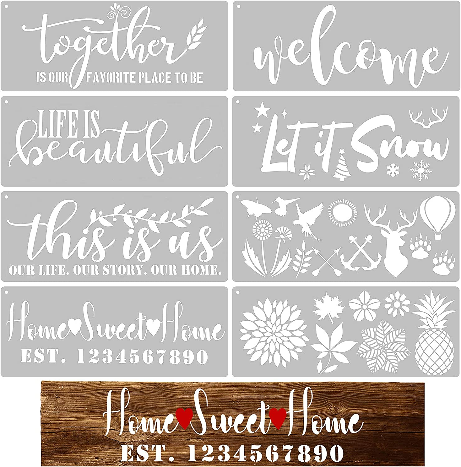 8 Pieces Welcome Sign Stencil Funny Family Sign Stencil Reusable Stencils for Painting on Wood Front Door, Porch or Outside Home Decor, Alphabet Flower Stencils