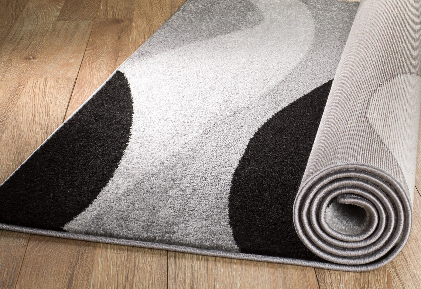 Rio Summit 307 Grey Black White Area Rug Modern Abstract Many Sizes Available 2 x 7 , 2 x 7 hallway runner