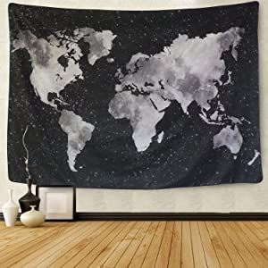 Sunm boutique World Map Tapestry Wall Hanging Black Map Tapestry Watercolor World Map Tapestry Globe Tapestry for Bedroom Living Dorm Room