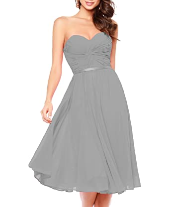 Ladsen Short Chiffon Bridesmaid Dresses 2017 Plus Size Gowns Grey