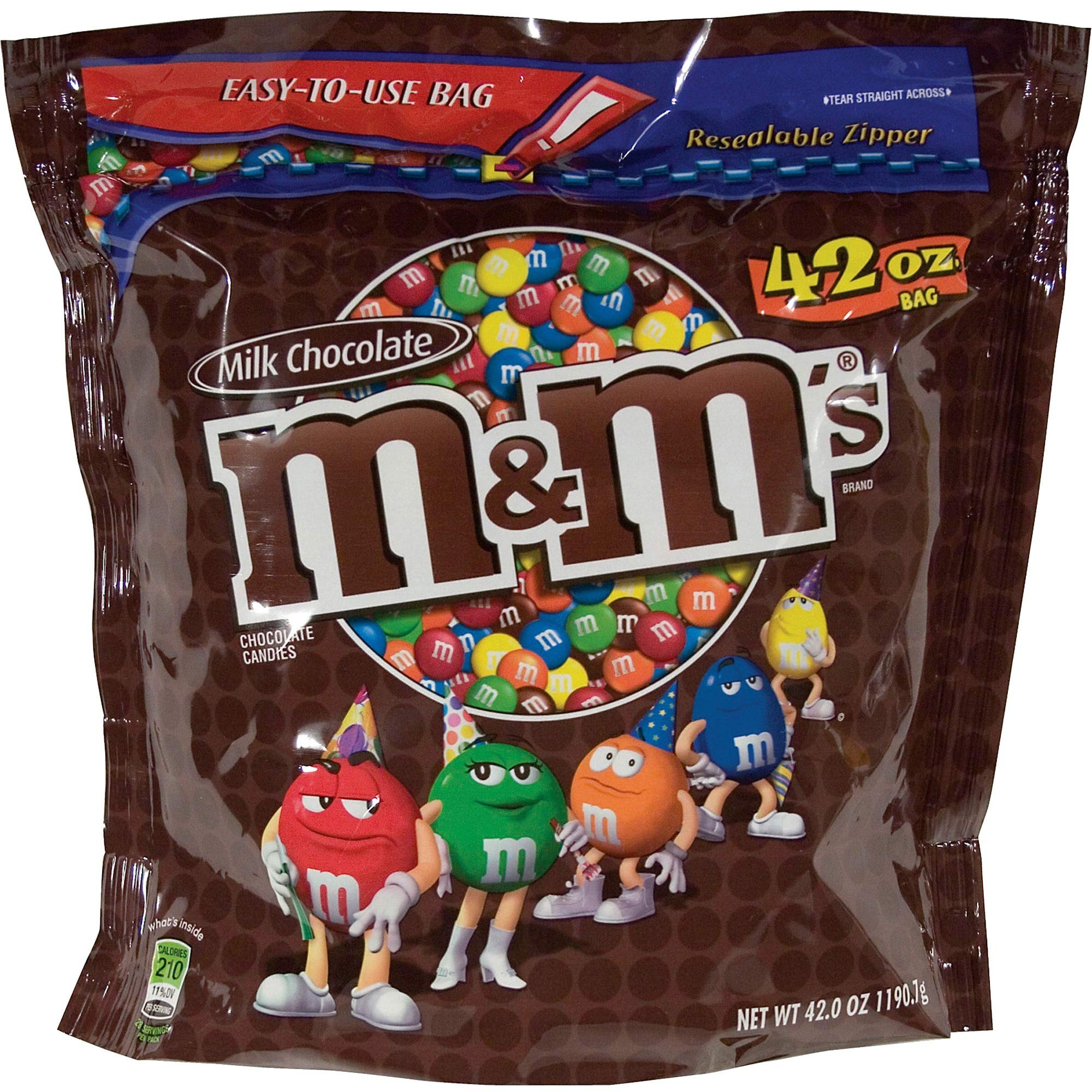 M&Ms Candy in Resealable Bag, 38 oz., Milk Chocolate