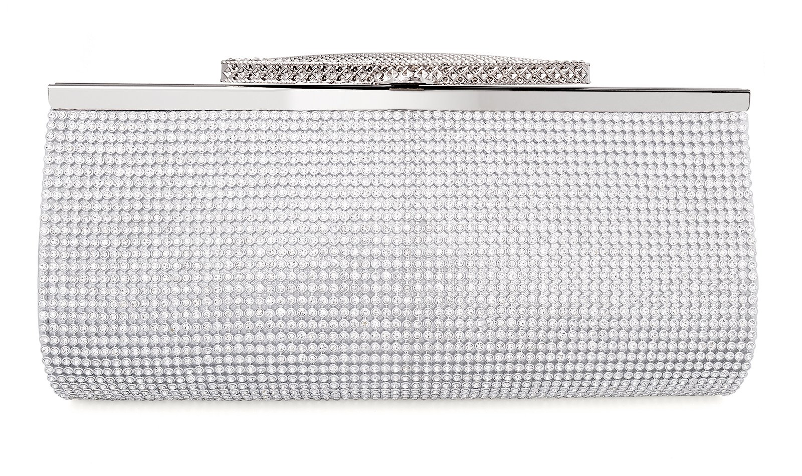 Crystal Clutch for Women Large Evening Bag (silver)