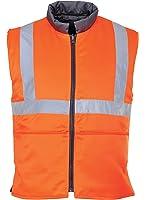 Portwest RT44ORRL Series RT44 Hi-Vis Reversible Body Warmer, GO/RT, Regular, Size: Large, Orange