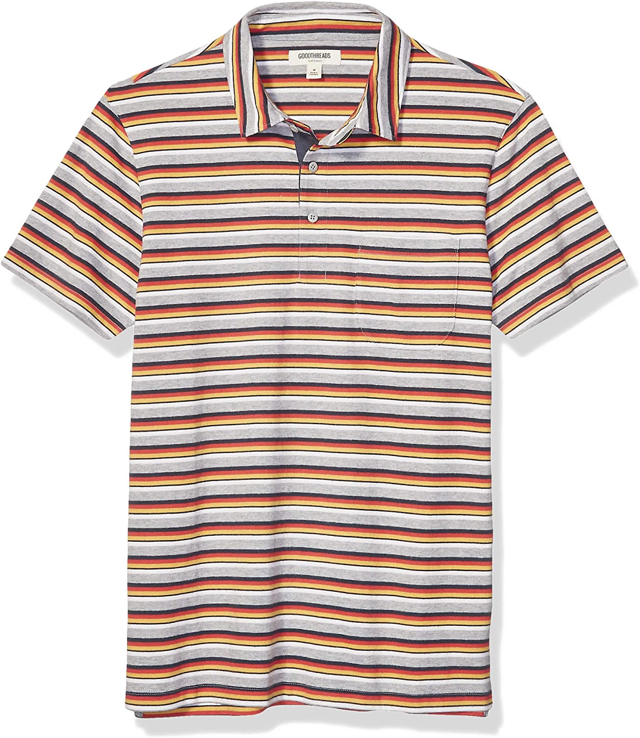 Brand - Goodthreads Men's Short-Sleeve Sueded Jersey Polo: Clothing