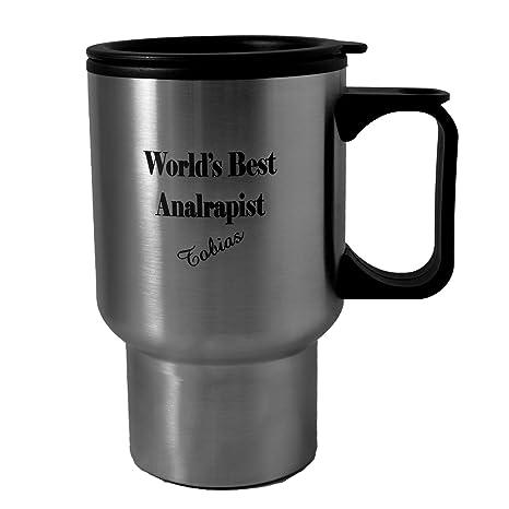 Amazon 14oz worlds best analrapist tobias stainless steel 14oz worlds best analrapist tobias stainless steel travel mug whandle l1 great for arrested colourmoves