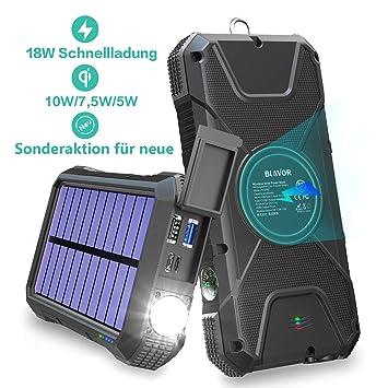 Fast Power Bank 20000mAh,BLAVOR Carga inductiva 10W/7.5W y 18W Quick Charge 3.0,cargador solar mejorada la batería externa,energía emergencia portátil ...