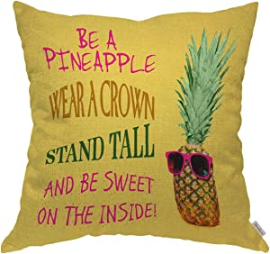Moslion Throw Pillow Cover Case Funny Pineapple Quotes Wear A Crown Stand Tall Be Sweet Inside Cotton Linen Cushion Covers for Couch/Sofa/Kitchen/Boy Gilrs Bedroom Livingroom 18 x 18 inch Pillow case
