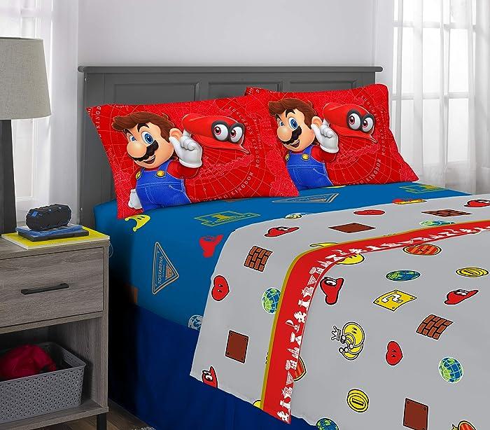 Nintendo Super Mario Odyssey Kids Bedding Soft Microfiber Sheet Set, 4 Piece Full Size, Multi-Color