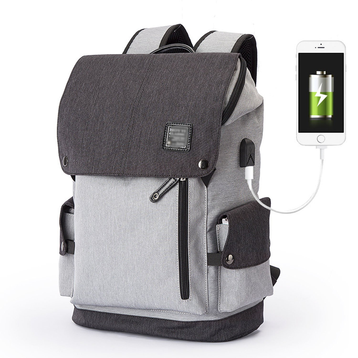 Slim Business Laptop Backpack USB Anti Thief/Tear Water Resistant Travel Computer Backpack 15.6/17Inch,Gray black charging