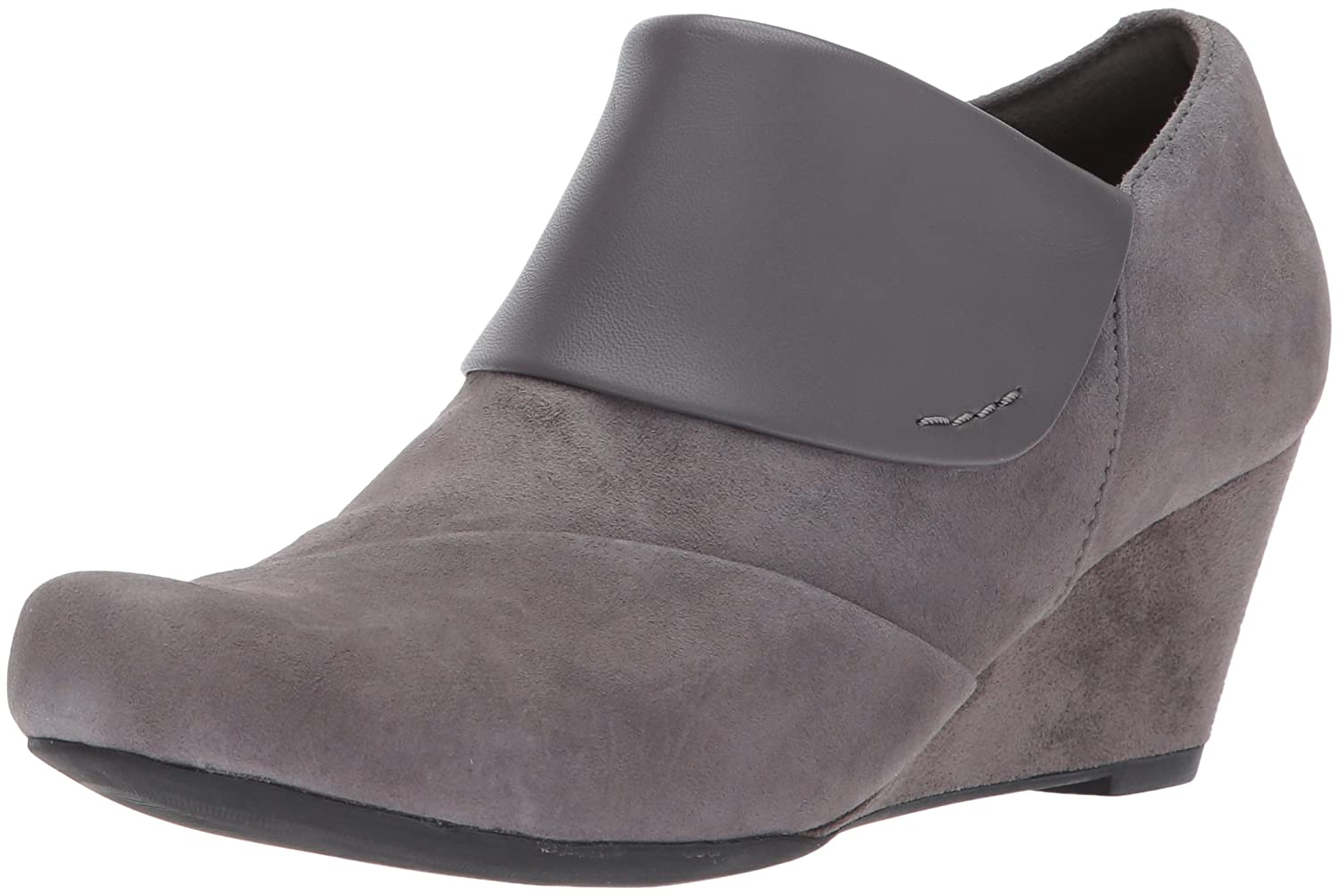 CLARKS Women's Flores Dahlia Ankle Bootie B01MQUFLYY 10 B(M) US|Grey Suede/Leather Combi