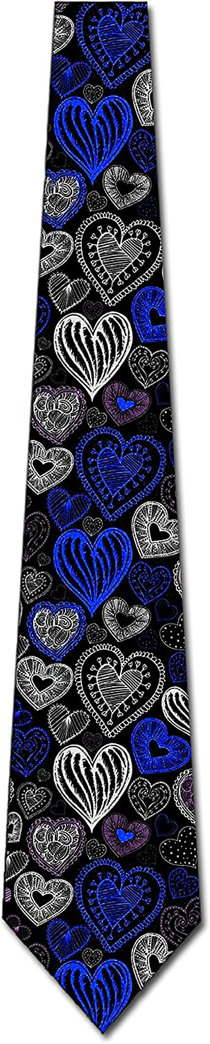 Valentines Day Ties Mens Holiday Heart Necktie by Three Rooker
