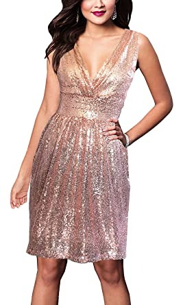 985f9496 SUJAN Women's Sequins Dresses V Neck Ruched Pleated Bodice Bodycon Rose Gold  S