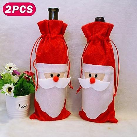 DHOUTDOORS Bolsas de Cubierta de Botella de Vino Tinto Blanco Champán Cava Navidad Santa Claus Regalo
