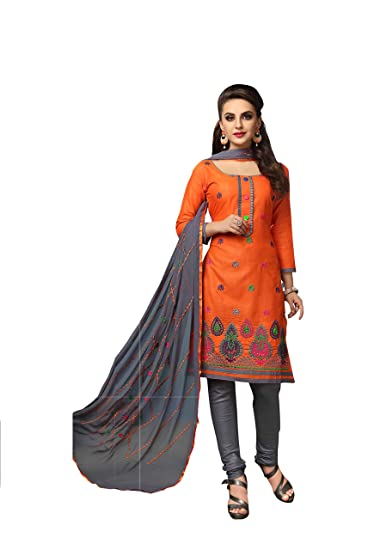 97b1da5682 Cotton Embroidered Salwar Suit Dupatta Dress Material (rbgg_sun_Fire  Orange_Free Size)