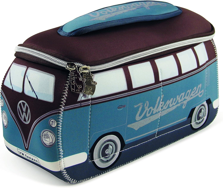 BRISA VW Collection - Volkswagen Furgoneta Hippie Bus T1 Van Bolsa Universal de Neopreno, Neceser, Bolso de Maquillaje-Cosméticos-Aseo, Estuche de lápices, Caja de Almuerzo, Equipaje (Petrol/Marrón)