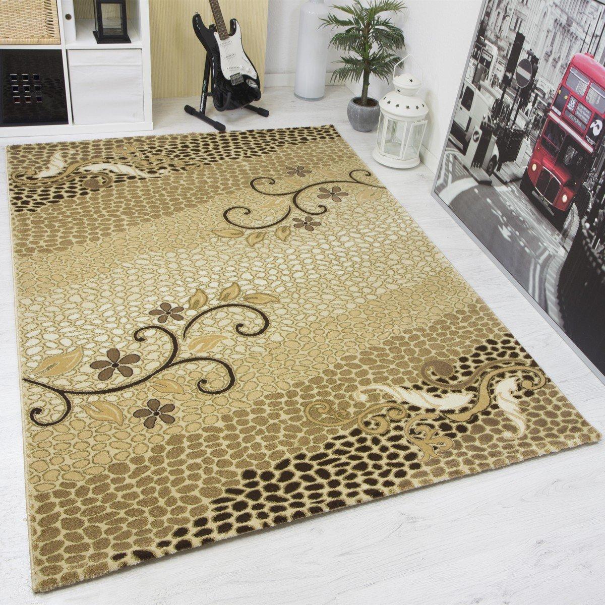VIMODA Moderner Designer Teppich mit Glitzereffekt Edel Elegant in versch Größen in Gold Beige - Top Qualität und Sehr Pflegeleicht, Maße  200x290cm