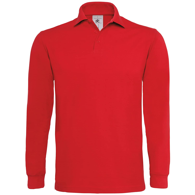 B& C Mens Heavymill Cotton Long Sleeve Polo Shirt B and C