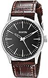 Nixon Men's 38mm Brown Calfskin Band Steel Case Quartz Black Dial Analog Watch A3771887