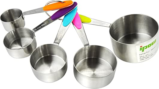 Thicker Handle,5 PCS IPOW Solid Sturdy Stainless Steel Stackable Measuring Cups Set to Measure Dry and Liquid Ingredients with Soft Handles,for Kitchen Cooking Baking