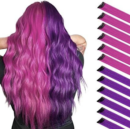 FESHFEN Extensión de cabello de color, Rosa Púrpura para Niñas Princess Party Highlight Extensiones de Cabello Liso y Colorido Clip en Disfraces Pieza ...