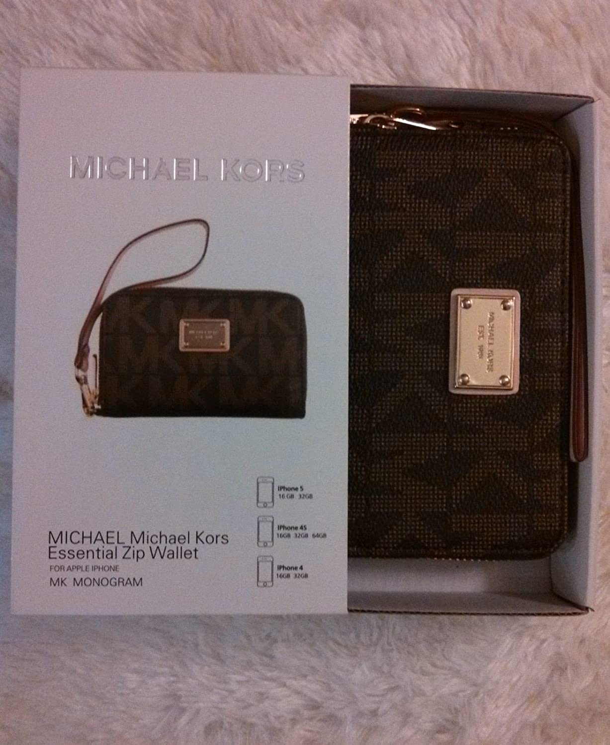 c529ca3f2c07 Amazon.com: Brown Michael Kors Wristlet Zip Wallet Case iPhone 4 4S 5 5S  5C: Clothing